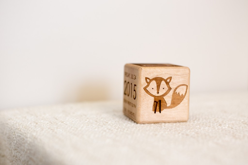 blue fox engraving personalized gifts baby blocks